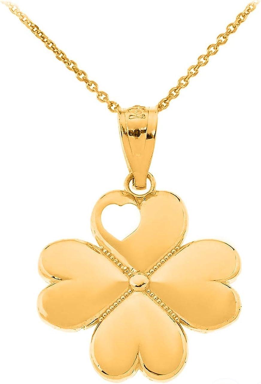 Certified 10k Gold Irish Luck Four-Leaf Heart Clover Pendant Necklace