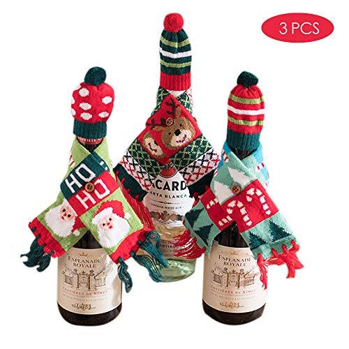 3 * Kerstversiering, wijnfleshoezen, sjaals, hoeden, gebreide tweedelige pakken, hoteltafeldecoratie