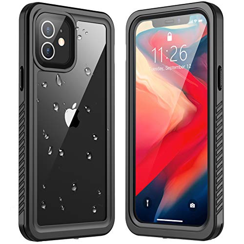 Redpepper Designed for Waterproof iPhone 12 Mini Case,Full Body with Built-in Screen Protector Rugged Clear Shockproof Waterproof Case for iPhone 12 Mini 5.4 inch 2020(Black/Clear)