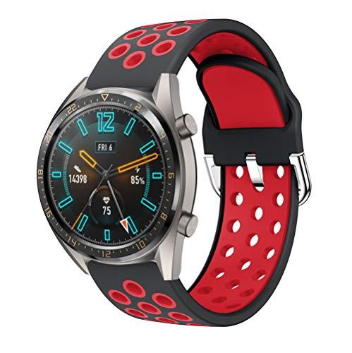 Silikon Armband Ersatz Zubehör Uhrenarmband Kompatibel mit Huawei Watch GT2 (46MM) Smart Watch (Rot + Schwarz)