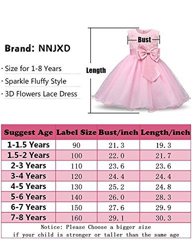 NNJXD Vestido de Fiesta de Princesa con Encaje de Flor de 3D sin Mangas para Niñas Talla(160) 7-8 años Blanco