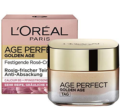 L'Oréal Paris Feuchtigkeitspflege für rosig-frischen Teint, Rosen Gesichtscreme, Golden Age Creme...