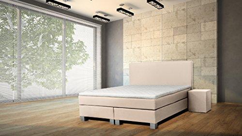 WELCON ORIGINAL Rockstar Taschenfederkern 1126 Luxus Boxspringbett 140x200 Härtegrad H3 in beige Creme TTF in Matratze und Boxen, inkl. Topper Polsterbett Doppelbett Bett
