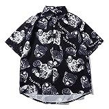 PENNY73 Camisa Hawaiana para Hombre con Estampado de Oso de Dibujos Animados con Botones y Solapa de Moda de Ajuste Relajado Top Cómodo de Secado Rápido,Black,M(165cm65kg)