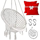 BLUE TOADS Hanging Round Cotton Macrame Swing Hammock Chair with Durable Hardware Kit (Large, White,130 Kgs Capacity)