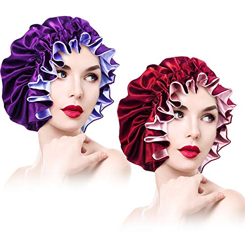 2 Pieces Satin Bonnet Adjustable Silk Bonnet Elastic Satin Sleep Hat Shower Caps Hair Bonnet for Women Curly Hair Nightcap, XL (Wine Red and Violet)