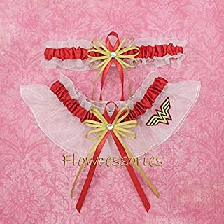 Wonder Women handmade bridal wedding keepsake garter set