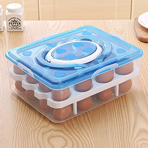 Honadar Egg Storage Box with Handle, Transparent Body High Capacity Portable Kitchen Accessory (Blue, One Size)