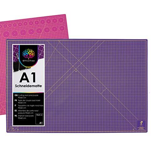 OfficeTree Schneidematte A1 selbstheilend - Pink Lila - Schneidmatte 60 x 90 selbstheilend - Cutting Mat mit beidseitigen Rastern und Markierungen für professionelle Schnitte