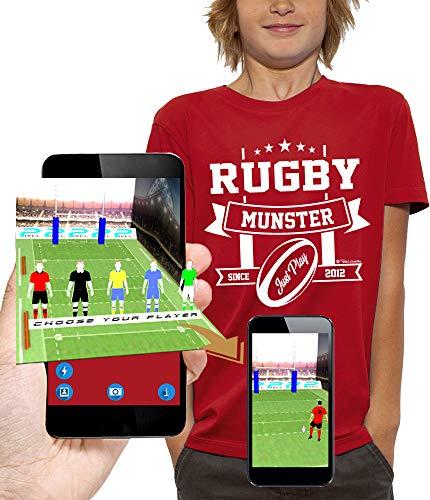 PIXEL EVOLUTION Camiseta 3D Rugby Munster en Realidad Aumentada Niño - tamaño 5/6 años - Rojo