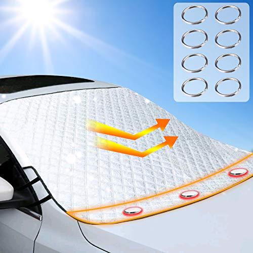 Auto Sonnenschutz Frontscheibe Windschutzscheiben Abdeckung 3 Magnet UV-Schutz für Sommer Wintergegen Schnee, EIS, Frost, Staub, Sonne Faltbare Abnehmbare 193*126cm