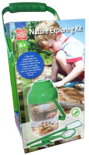 EDU-TOYS Naturbeobachtung Set Becherlupe mit Werkzeug und Gefäß + Lupe