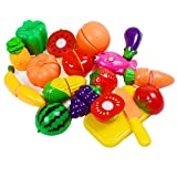 KAREZONINE Cutting Fruits Vegetables Set, 16 Pack Play Kitchen Plastic Cutting Food for Kids Pretend Play Kitchen Toys Educational Food Toys for Children Girls Boys Best for 3, 4, 5 Year Olds
