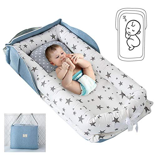 Luckyx Baby Bassinet For Bed, Newborn Baby Lounger,Foldable Infant Sleeping Nest Pods Breathable Multifunctional Baby Nest, Portable Crib For Bedroom/Travel