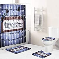 クリスマスのシャワーカーテンでフック、バスルームマット、トイレマットシートカバー、コンターマット4パック、浴室のためのクリスマスの飾り Light purple-Large