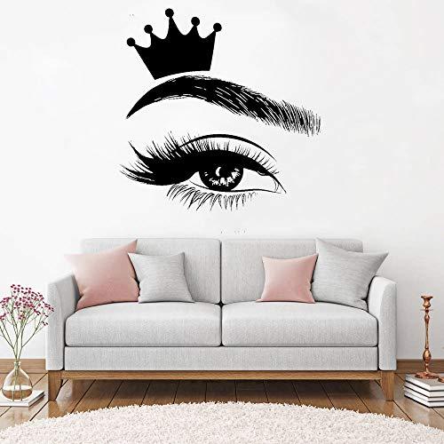Corona para pestañas calcomanías pestañas arte ventana pegatina salón de belleza mujeres chica pestañas cejas cejas calcomanía murales A8 57x57cm