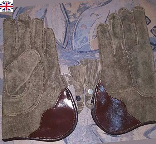 NOUVEAU GANT DE FAUCONNERIE simple couche cuir daim 12 pouces long taille standard Noir
