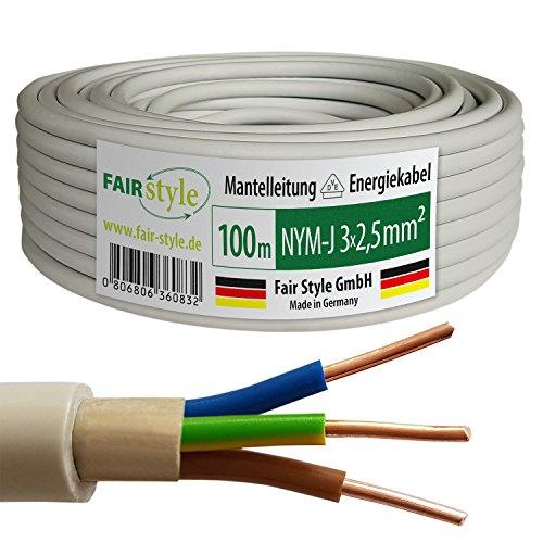 Fair Style 100m NYM-J 3x2,5 mm² Mantelleitung Elektro Strom Kabel Kupfer eindrähtig Made in Germany