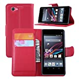 Ycloud Tasche für Sony Xperia Z1 Compact (4.3 Zoll) Hülle, PU Ledertasche Flip Cover Wallet Hülle Handyhülle mit Stand Function Credit Card Slots Bookstyle Purse Design rote