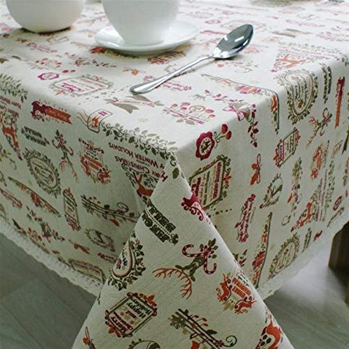 WENLI Tablecloth Cerchio Tovaglie Tema Natale Lino Tovaglia con Merletto Renna Stampa Multifunzionale Copertura Tavolo Tovaglie Regalo di Festa (Specification : 140 * 180cm)