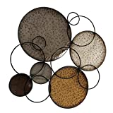 Modernist Floating Ring and Circles, Abstract Metal Wall Art, Artisan Crafted, Rustic Gray, Pewter, Gold Gilt, Silver, Painted Iron, 29.5 Inches
