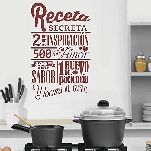 Cocina Cocina Pegatinas de pared Receta española Cita secreta Vinilo Calcomanía Love Cook Cooking Art Mural Restaurante Decoración - Tamaño: 42x67cm