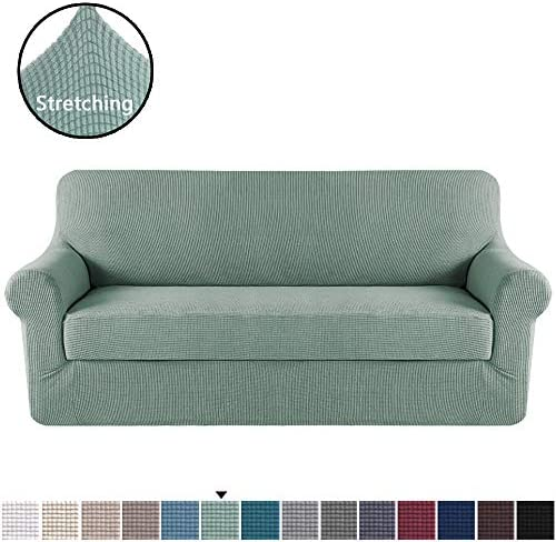 Best H.VERSAILTEX Stretch Sofa Covers 2 Piece for 3 Cushion Large Couch Covers Sofa Slipcovers Furniture