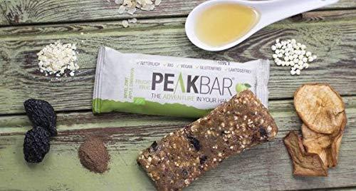 PeakBar / Apfel Zimt Bio Müsliriegel mit Kauerlebnis | 12x65g | Radsport Wandern | Vegan | Glutenfrei | Ohne Zuckerzusatz