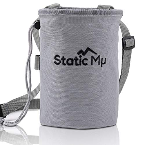 Static Mu Chalk Bag for Rock Climbing, Bouldering, Weightlifting, CrossFit, and Gymnastics   Durable Polyester Pouch with Zippered Pocket, Elastic Brush Holder, Drawstring Closure, and Quick Clip Belt