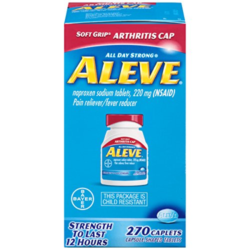 Aleve Soft Grip Arthritis Caplets, Fast Acting All Day Pain Relief for Headaches, Muscle Aches, and Fever Reduction, Naproxen Sodium Caplets, 220 mg (270 Count)
