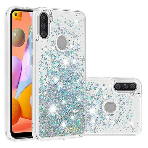 Miagon Flüssig Hülle für Samsung Galaxy A11/M11,Glitzer Treibsand Handyhülle Glitter Quicksand Schutzhülle Bumper Case Cover,Silber