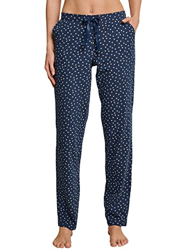 Schiesser Damen Mix & Relax Jerseyhose lang Schlafanzughose, Blau (Blaugrau 808), 34