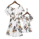 Mumetaz Mommy and Me Dresses Floral Printed Chiffon Ruffles A-Line Bowknot Sweet Swing Short Dress White