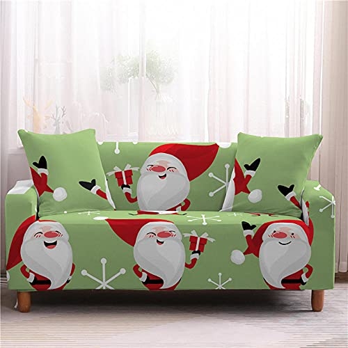 Funda Sofa 4 Plazas Chaise Longue Navidad Fresca Verde Fundas para Sofa con Diseño Universal,Cubre Sofa Ajustables,Fundas Sofa Elasticas,Funda de Sofa Chaise Longue,Protector Cubierta para Sofá