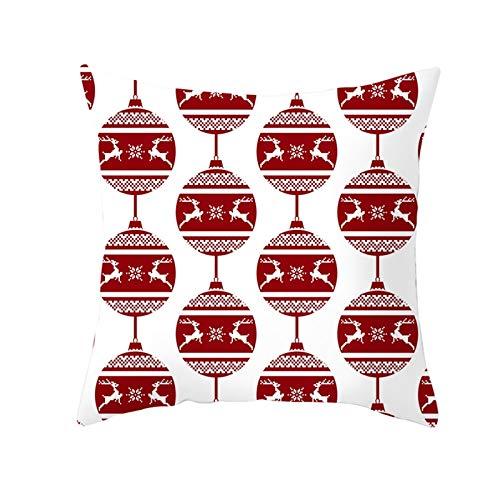 Homxi Cojines 45x45,Funda de Cojin de Poliester Bolas de Decoración de Navidad con Ciervos y Copos de Nieve,Funda Cojines Navideños Blanco Rojo Oscuro