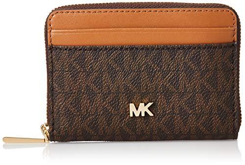 Michael Kors MICHAEL by Money Pieces Kartenhalter für Frauen, braune Brieftasche aus Leder, Kartenhalter aus Leder, Ledergeldbeutel uni Braun