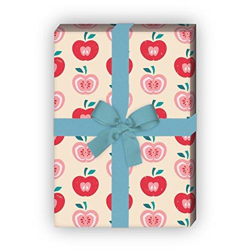 Kartenkaufrausch 70er Jahre Apfel Geschenkpapier Set 4 Bogen, Dekorpapier im Retro Design, für schöne Geschenkverpackung, Musterpapier zum basteln 32 x 48cm