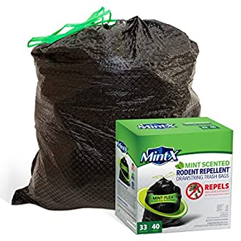 Mint-X MintFlex Rodent Repellent Trash Bags 2 FT 8 3/4 Inches X 2 FT 11 Inches 1.05 MIL 33 Gallon 40 Count