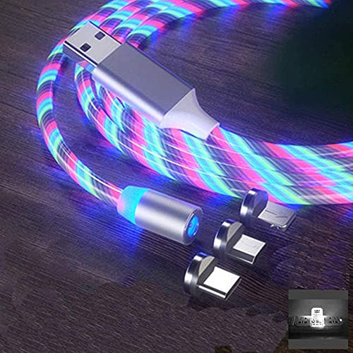 HECKTON 3-in-1 3.0A Flowing Magnetic Light USB Fast Charger Multiple Charging Cable with Phone/Type C/Micro USB for All Android and iOS Smartphones (Multicolor, 3.3Ft/1m)