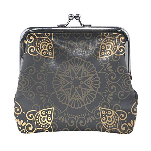 ANINILY Ornament Beautiful Background Leather Mini Coin Purse snap Closure Clutch Wallet for Women Girls