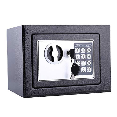 GOTOTO elektronische kluis met cijfercombinatie 6.4LTresor met elektronisch getal, veilig, kleine, mobiele kluis, 17 x 23 x 17 cm, 4 x AA batterijen, zwart