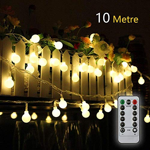 Titiyogo batteria luci 10,1m/10M 80LED impermeabile indoor outdoor Fairy Lights battery Powered Globe string luci per feste, giardino, patio, wedding Decorations–8modalità telecomando