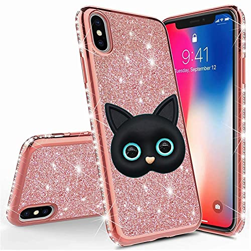 Miagon pour iPhone XS Max Coque Housse Etui,3D Mignon Chat Bling Brillant Glitter Placage Silicone Case Strass Paillettes Brilliant Cover