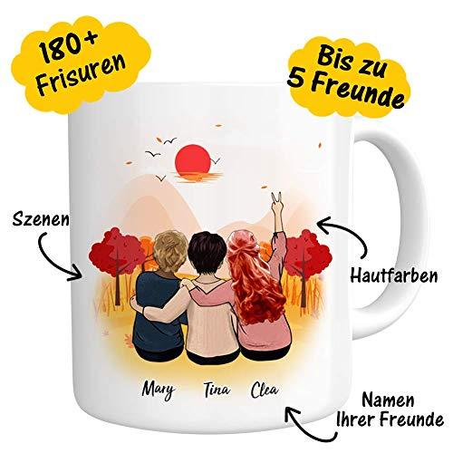 Personalisierte Tasse mit Namen & Rückenfigur zum Bemalen auf beiden Seiten Freundschaft Kaffee Tasse Becher mit Spruch Foto Keramik Weiß Mug Becher Geschenk für Freunde (5 Szenen 180+ Frisuren)