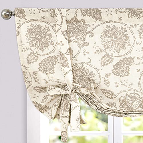 JINCHAN Tie Up Curtains for Kithcen Living Room Adjustable Tie-up Shade Linen Textured Rod Pocket Medallion Design Jacobean Floral Printed Valance 1 Panel 45 inch Taupe on Beige