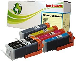 INK4WORK 6 Pack Compatible Ink Cartridge Replacement for Canon PGI-250XL BK PGI250XL CLI251 XL CLI-251XL to use with Pixma iP8720 MG6320 MG7120 MG7520