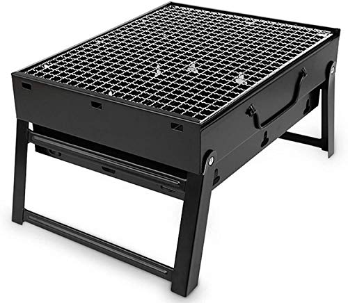 Cold-Rolled Iron Barbecue Grill BBQ Charcoal Grill Smoker Barbecue Folding Portable for Outdoor Cooking Camping Hiking Picnics Backpacking Large Small Size 35 x 27 x 20 cm Length x Width x Height) gri