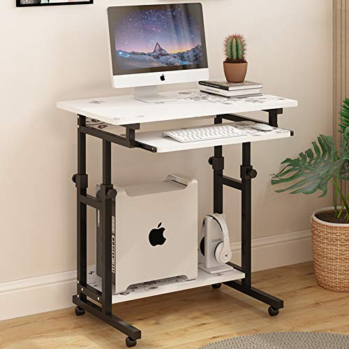 ALIPC Movable Lifting Computer Desk with Keyboard Tray,Rolling Cart Bedside Table Adjustable Height...