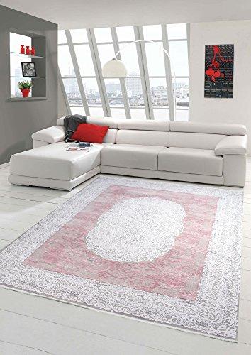 Designer und Moderner Teppich Wollteppich mit Fransen Creme Beige Rosa Größe 80x150 cm
