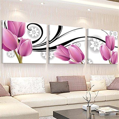 Le salon fleurs pourpres peintes 50 * 50 * 2.5 cm PVC tissu film 3 set / impression vase peinture de fond Tenture murale triptyque restaurant